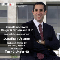 Jonathan Uslaner Named Among Daily Journal's Top 40 Under 40