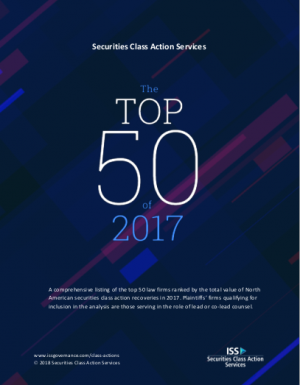 Law360 Highlights BLB&G's Top Ranking in Review of ISS/SCAS